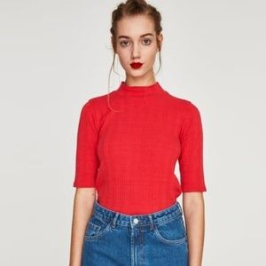 Zara High Neck Ribbed T-Shirt